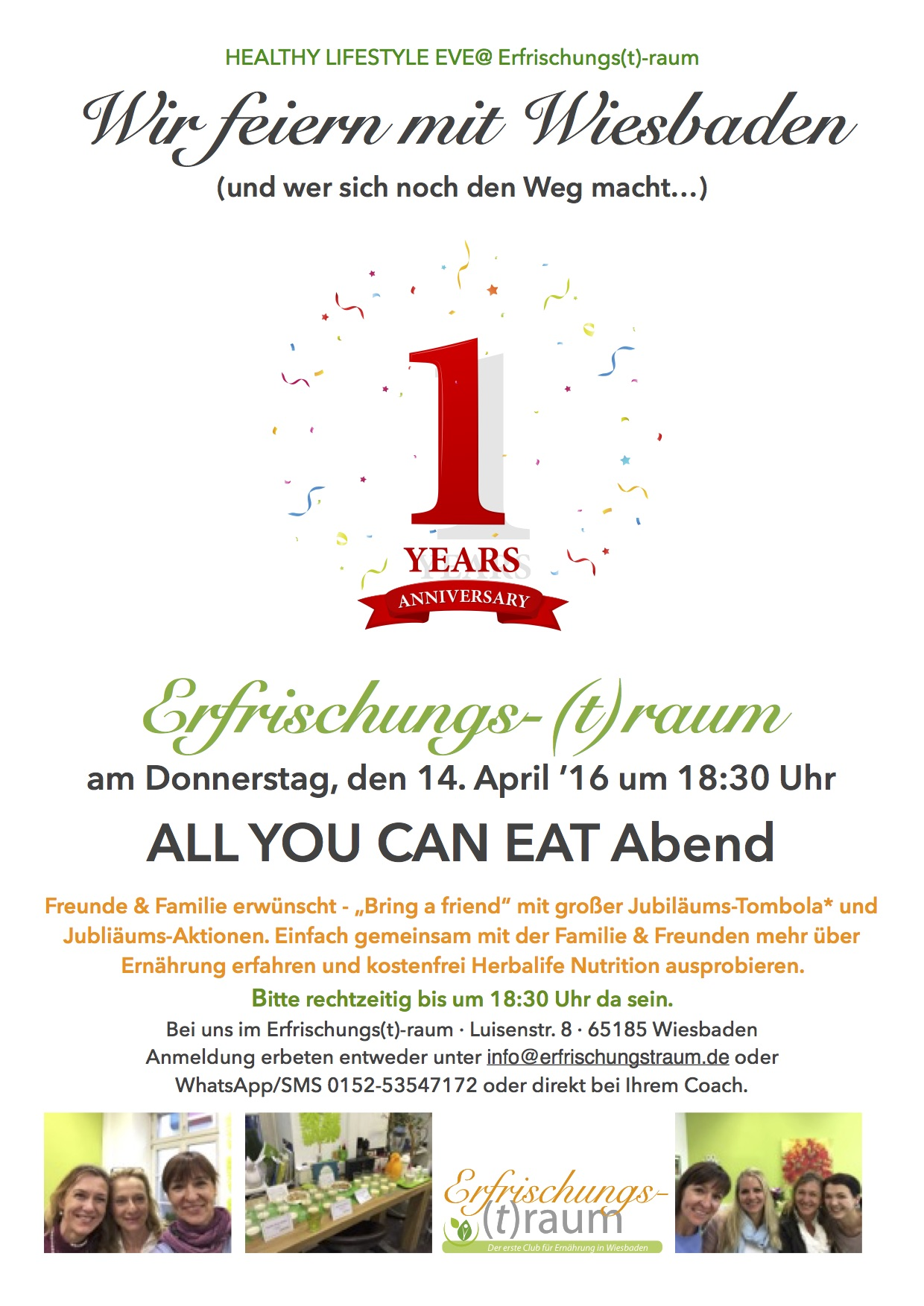 am donnerstag 14 april feiern wir 1 jahr bestehen all you can eat der erste club f r. Black Bedroom Furniture Sets. Home Design Ideas
